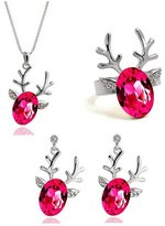 Fancy Jewelry Sets Gift Fancy Fashion Austria Rose Red Crystal Jewelry Set Cute Deer Oval Crystal Pendant Necklace Earrings Ring