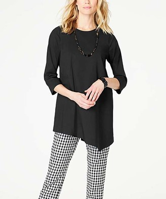 J. Jill J.Jill Women's Tunics BLACK - Black Asymmetric Tunic - Women