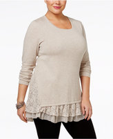 Style&Co. Style & Co. Plus Size Lace-Trim Tunic, Only at Macy's