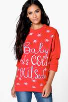 boohoo Maternity Bridgette Baby It's Cold Outside Christmas Jumper red