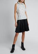 Chloé Floral Silk Georgette Short-Sleeve Halter-Neck Top