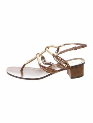 Gucci Suede T-Strap Sandals Brown