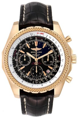 Breitling Black 18K Yellow Gold Bentley Chronograph K25362 Men's Wristwatch 49 MM