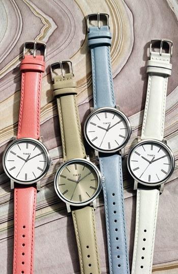 Timex Round Leather Strap Watch, 38mm