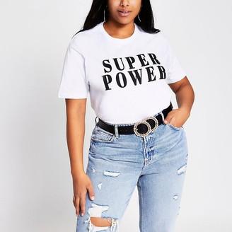 River Island Plus white 'Super power' T-shirt