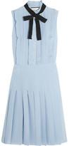 Gucci Ruffled Pleated Silk Crepe De Chine Mini Dress - Sky blue