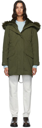 Yves Salomon Army Green Down and Fur Bachette Parka