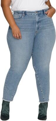 Good American Good Vintage Twisted Seam Frayed Straight Leg Jeans