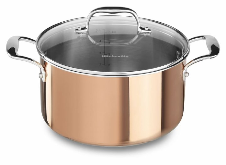KitchenAid KCP60LCCP Tri-Ply Copper 6-Quart Low Casserole with Lid Cookware - Satin Copper