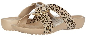 Crocs Serena Printed Cross Band Slide (Leopard/Gold) Women's Slide Shoes