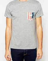 Blend of America T-Shirt Slim Fit Stars and Stripes Pocket Print