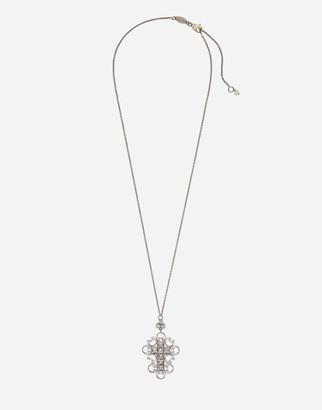 Dolce & Gabbana Barocco Pendant In White Gold With Diamonds