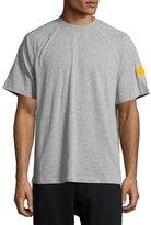 Moncler Striped Short-Sleeve Raglan T-Shirt, Gray