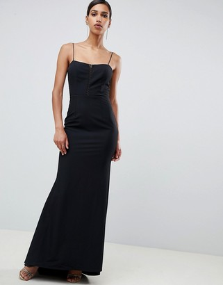 Jarlo cami strap fishtail maxi dress with lace insert in black