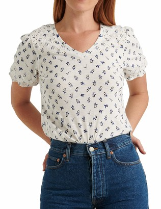 Lucky Brand Women's Puff Sleeve V Neck Embroidered Top