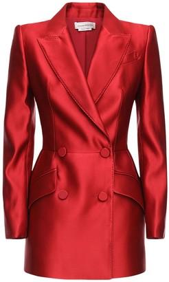 Alexander McQueen Double Breasted Silk Duchesse Blazer