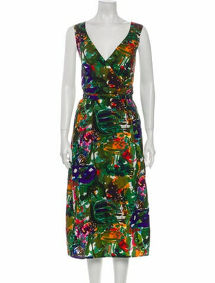Marni Printed Midi Length Dress Green