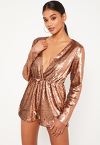 Missguided Rose Gold Sequin Wrap Long Sleeve Playsuit