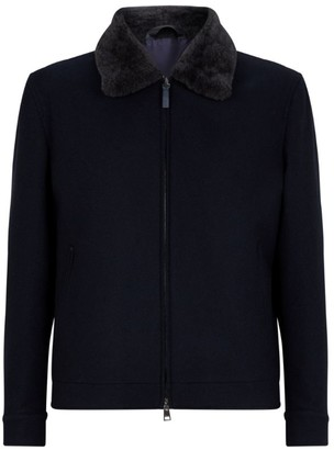Brioni Fur-Trim Zip-Up Jacket