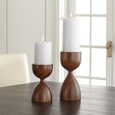 Crate & Barrel Merritt Solid Wood Pillar Candle Holder