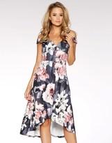 Quiz Printed Bardot Dip Hem Dress