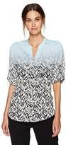 Calvin Klein Women's Printed Roll Sleeve Top