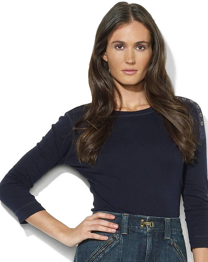 Lauren Ralph Lauren Button-Shoulder Crewneck