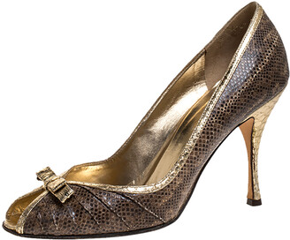 Dolce & Gabbana Gold Python And Brown Lizard Bow Peep Toe Pumps Size 39