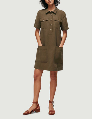 Whistles Patch-pocket linen-blend mini dress