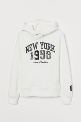 H&M Printed Hoodie - White