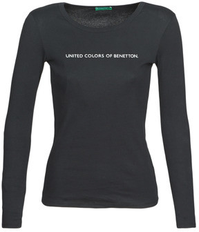 Benetton LORENZO women's Long Sleeve T-shirt in Black