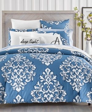 Charter Club Damask Designs Outline Damask Cotton 300-Thread Count 3-Pc. Full/Queen Duvet Set, Created for Macy's Bedding
