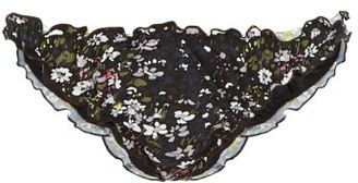 Ganni Ruffled Floral-print Bikini Briefs - Womens - Black