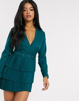 In The Style x Dani Dyer plunge front blazer dress with pleated skirt in emerald green
