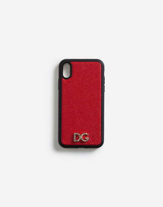 Dolce & Gabbana Iphone Xr Cover In Dauphine Calfskin With Crystal Logo