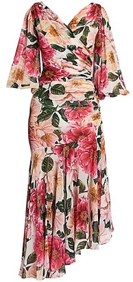 Dolce & Gabbana Floral Georgette Silk Flutter-Sleeve Midi Dress