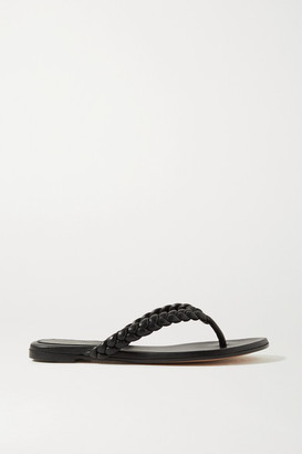 Gianvito Rossi Tropea Braided Leather Flip Flops - Black