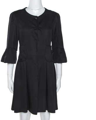 Fendi Black Silk Pleated Coat Dress M