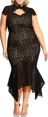 City Chic Lace Cotton Blend Mermaid Dress