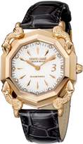 Roberto Cavalli Women's RV2L001L0056 White Dial with Black Leather Calfskin Band Watch.