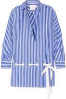 Sacai Striped Cotton-poplin Shirt - Blue
