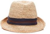 Lola Hats Tarboush Grosgrain-Trimmed Straw Fedora