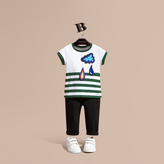 Burberry Striped Cotton T-shirt with Appliqué