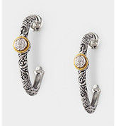 Effy® Sterling Silver and 18K Gold .07 ct. t.w. Diamond Design Hoop Earring