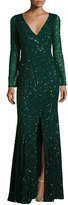 Rachel Gilbert Long-Sleeve Sequined V-Neck Gown, Emerald