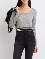 Charlotte Russe Varsity Striped Band Crop Top