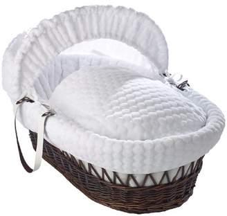 Clair De Lune Marshmallow Dark Wicker Moses Basket inc. bedding, mattress & adjustable hood (Pink)