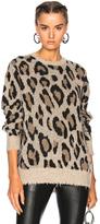 R 13 Leopard Cashmere Crewneck Sweater in Animal Print,Neutrals.