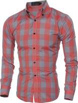 jeansian Men's Fashion Plaid Long Sleeves Dress Shirts Tops 84G6 XS