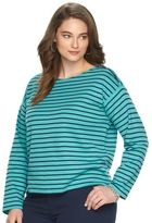 Chaps Plus Size Striped Zipper Shoulder Tee